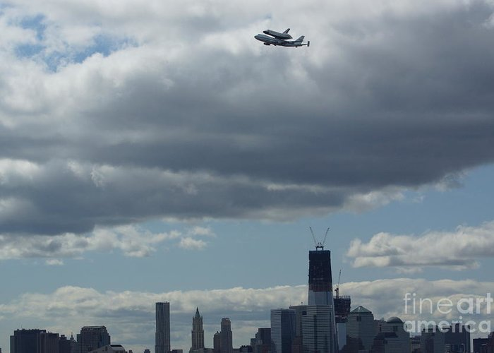Space Greeting Card featuring the digital art Space Shuttle Enterprise Flys Over Nyc by Steven Spak