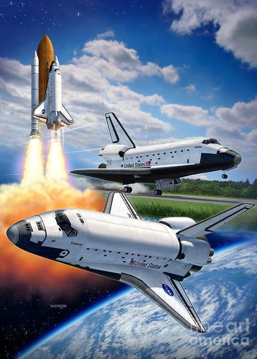 Space Shuttle Greeting Card featuring the digital art Space Shuttle Montage by Stu Shepherd