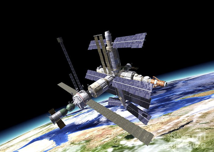 Three Dimensional Greeting Card featuring the digital art Space Station In Orbit Around Earth by Leonello Calvetti