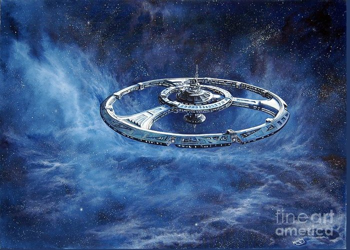 Sci-fi Greeting Card featuring the painting Deep Space Eight Station Of The Future by Murphy Elliott