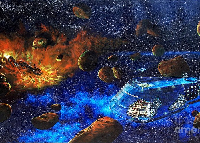 Future Greeting Card featuring the painting Spaceship Titanic by Murphy Elliott