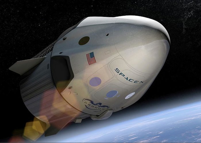Crew Dragon Greeting Card featuring the photograph Spacex's Crew Dragon In Orbit by Spacex/science Photo Library