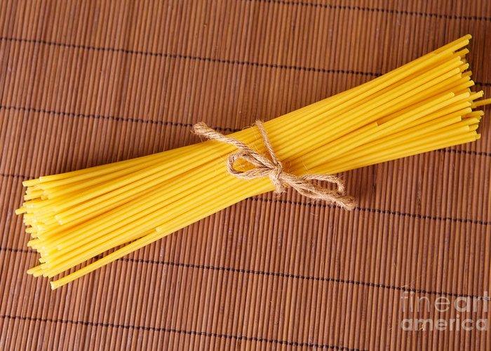 Noodles Greeting Card featuring the photograph Spaghetti Italian Pasta by Monika Wisniewska
