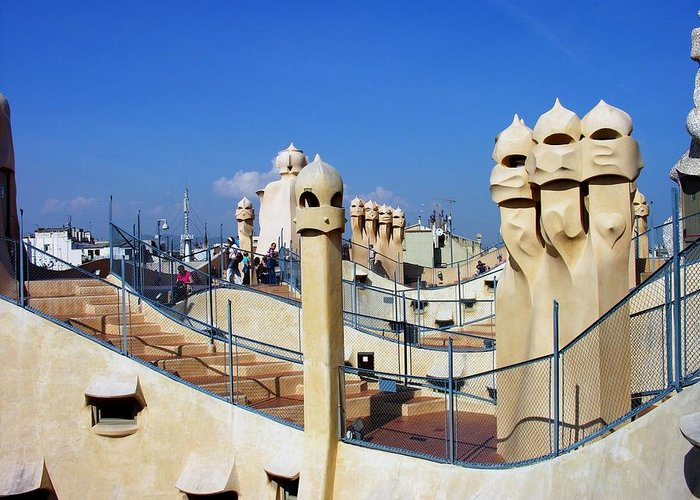 Spain Greeting Card featuring the photograph Spain - Barcelona - Gaudi - Casa Mila by Jacqueline M Lewis