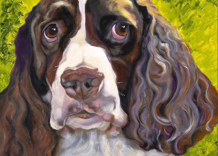 Dogs Greeting Card featuring the painting Spaniel The Eyes Have It by Susan A Becker
