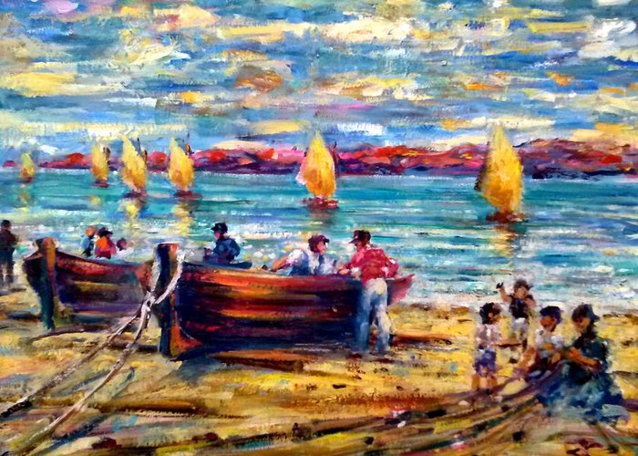 Sea Side Boats Greeting Card featuring the painting Spanish Fishing Boats by Philip Corley