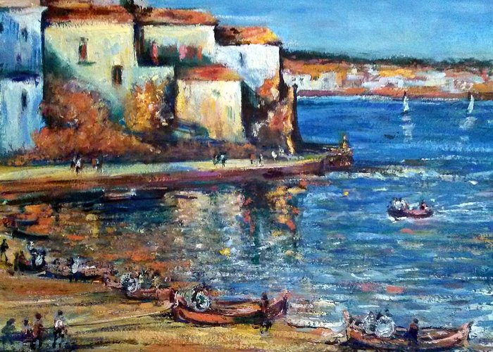 Seascape Greeting Card featuring the painting Spanish Fishing Village by Philip Corley