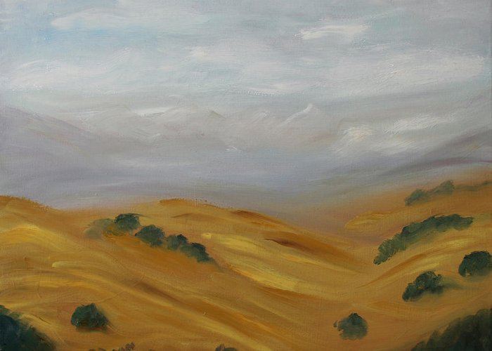 Landscape Greeting Card featuring the painting Spanish Hills by Stephen Degan
