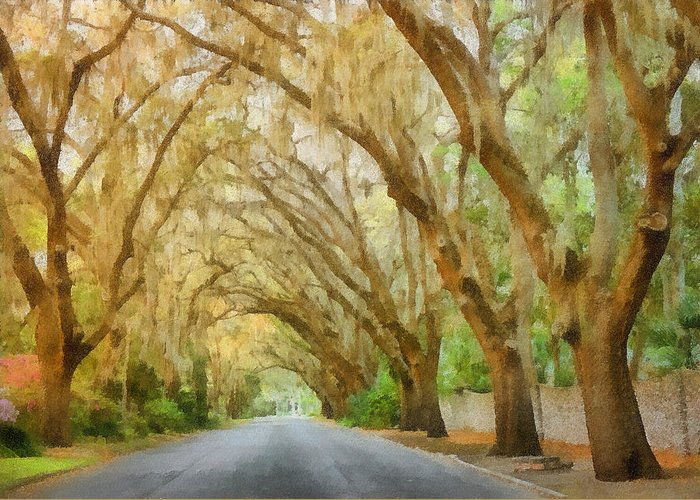 Spanish Greeting Card featuring the painting Spanish Moss - Symbol Of The South by Christine Till