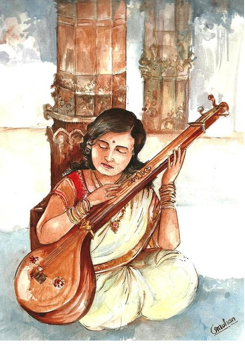 Greeting Card featuring the painting Sparsha by Mohan Kumar