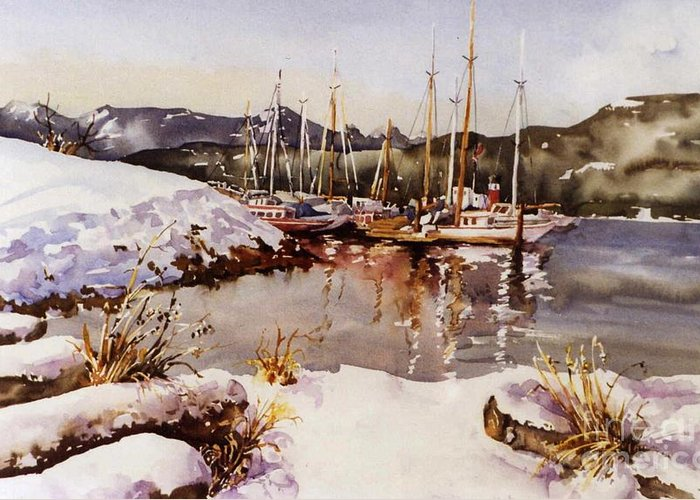 Landscape Greeting Card featuring the painting Special Winter In Vancouver by Marta Styk