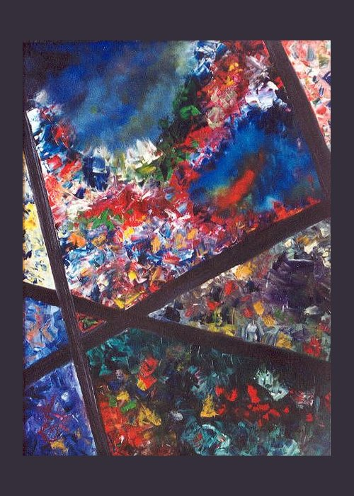 Abstract Greeting Card featuring the painting Spectral Chaos by Micah Guenther