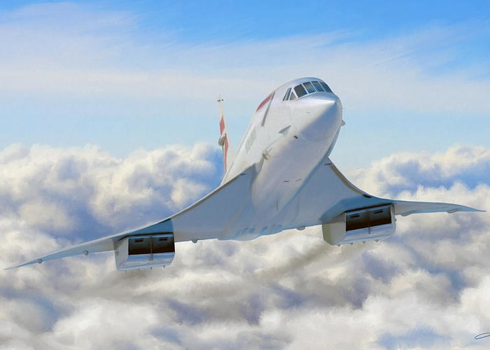 Concorde Greeting Card featuring the digital art Speeding Above The Clouds by Dale Jackson