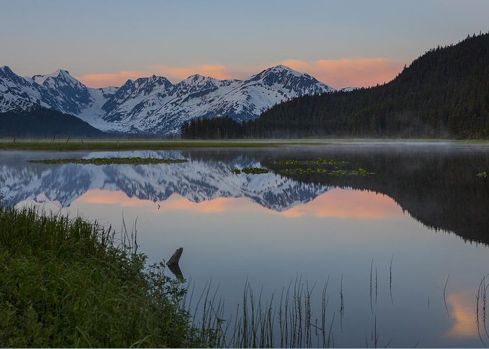Alaska Greeting Card featuring the photograph Spencer Galcier Sunrise by Tim Grams