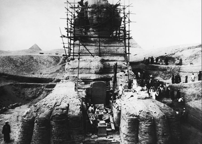 Great Sphinx Of Giza Greeting Card featuring the photograph Sphinx Scaffolding, Early 20th Century by Science Photo Library