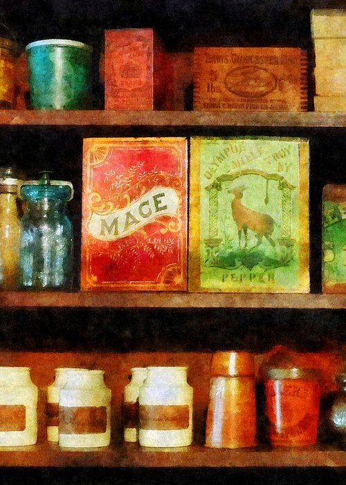Spice Greeting Card featuring the photograph Spices On Shelf by Susan Savad