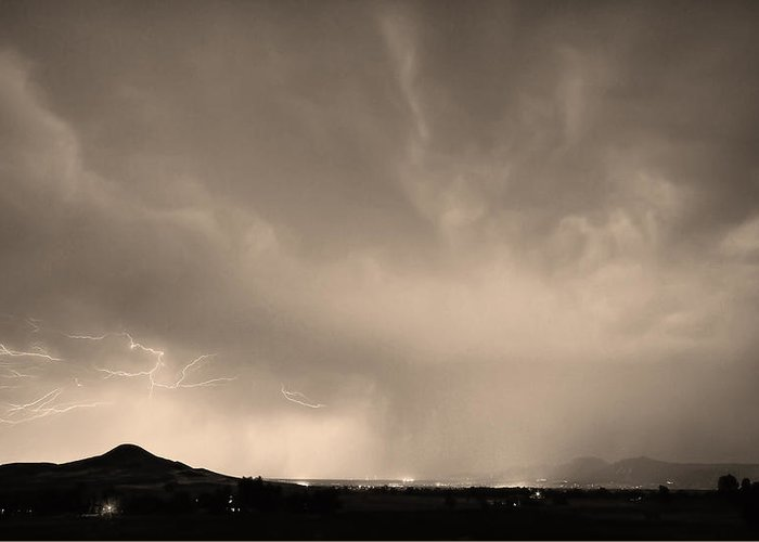 Lightning Greeting Card featuring the photograph Spider Lightning Above Haystack Boulder Colorado Sepia by James BO Insogna