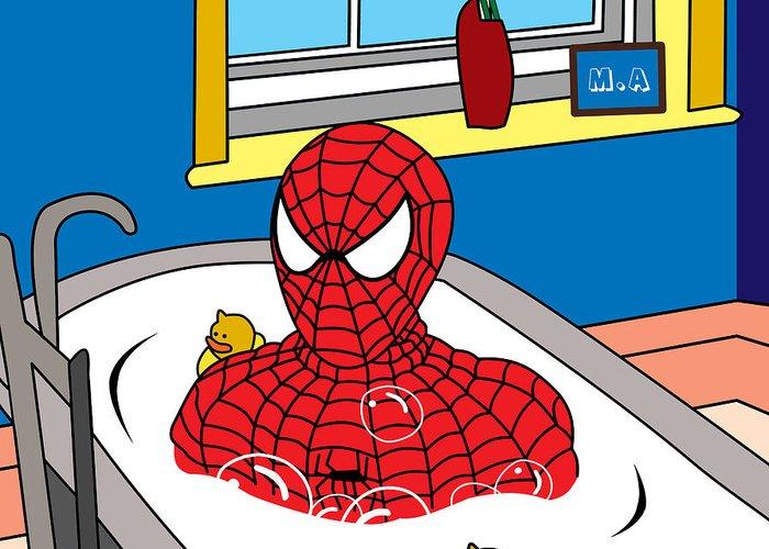 Spiderman Greeting Card featuring the digital art Spiderman by Mark Ashkenazi