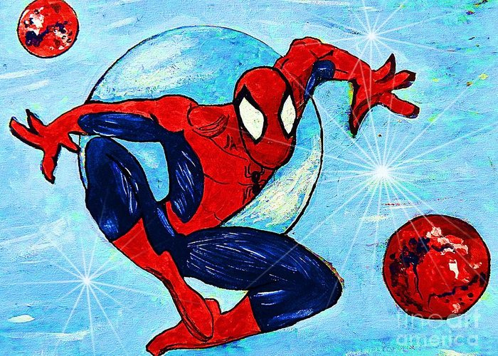 Spiderman Greeting Card featuring the painting Spiderman Out Of The Blue 2 by Saundra Myles