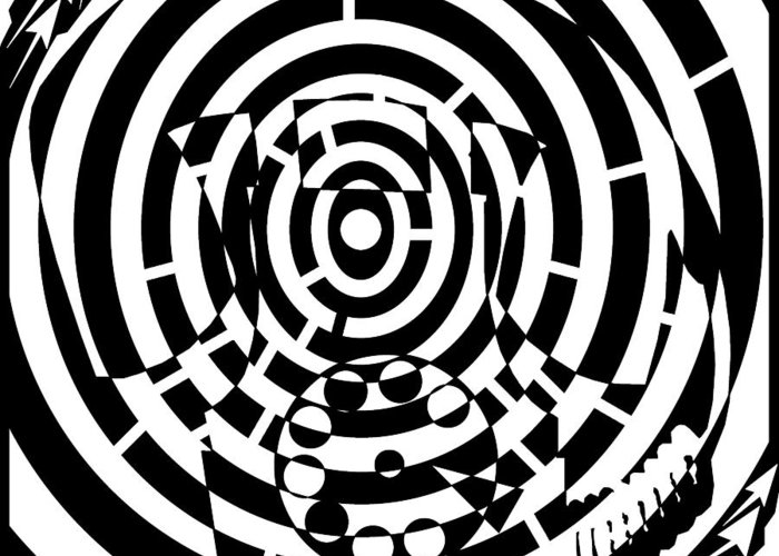Spin Greeting Card featuring the drawing Spin Art Rotary Phone Maze by Yonatan Frimer Maze Artist