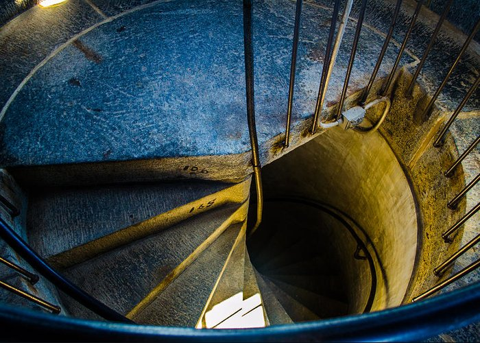 Spiral Staircase Greeting Card featuring the photograph Spiral Into The Light by Jeff Ortakales