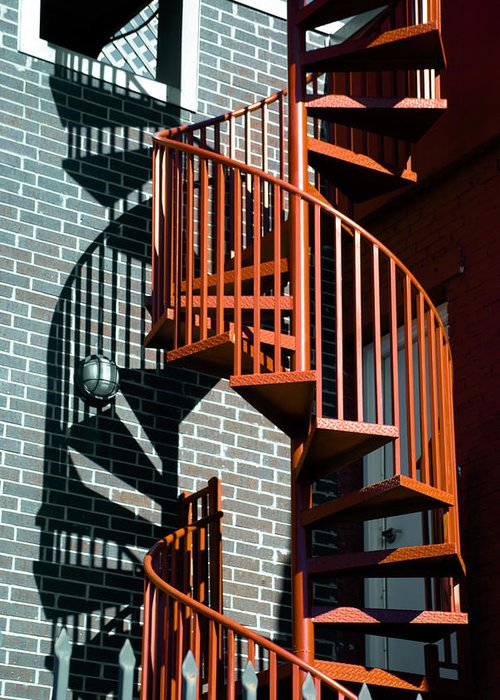 Art Greeting Card featuring the photograph Spiral Stairs - Color by Darryl Dalton