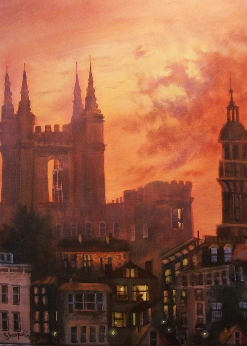 Church Greeting Card featuring the painting Spires In Silhouette by Tom Shropshire