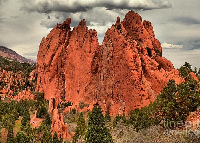 Garden Of The Gods Greeting Card featuring the photograph Spires To The Sky by Adam Jewell