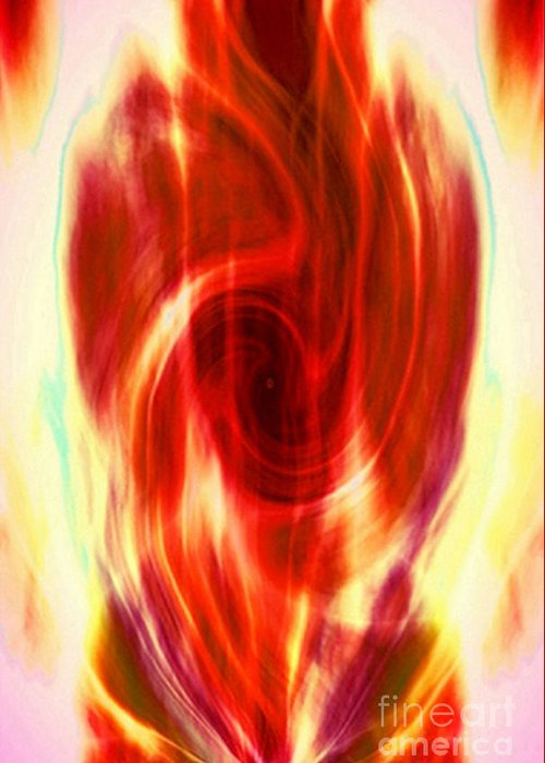 Fractal Greeting Card featuring the digital art Spirit Fire Of Kundalini by Rebecca Phillips