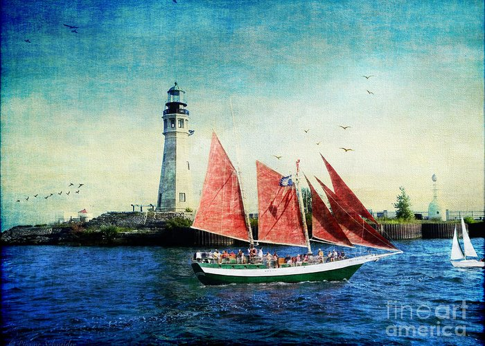 Ship Greeting Card featuring the digital art Spirit Of Buffalo by Lianne Schneider