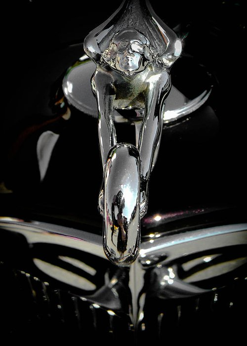 rolls Royce Hood Ornament Greeting Card featuring the photograph Spirit Of Speed Bw by Christy Usilton