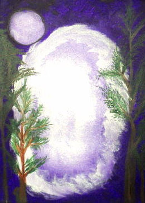 Deep Greeting Card featuring the painting Spirit Portal by Dayila Divine