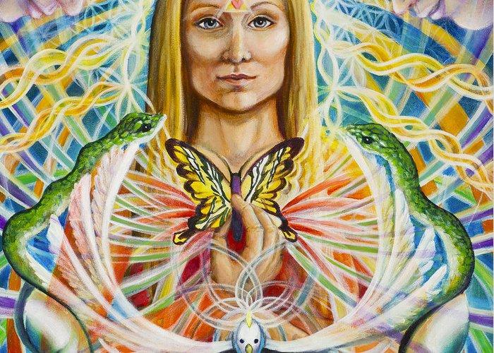 Aura Greeting Card featuring the painting Spirit Portrait by Morgan Mandala Manley
