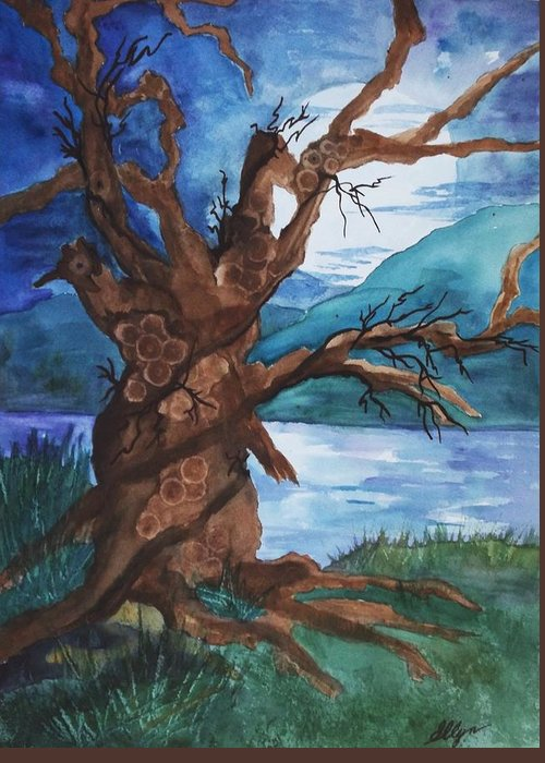 Tree Greeting Card featuring the painting Spirit Tree by Ellen Levinson