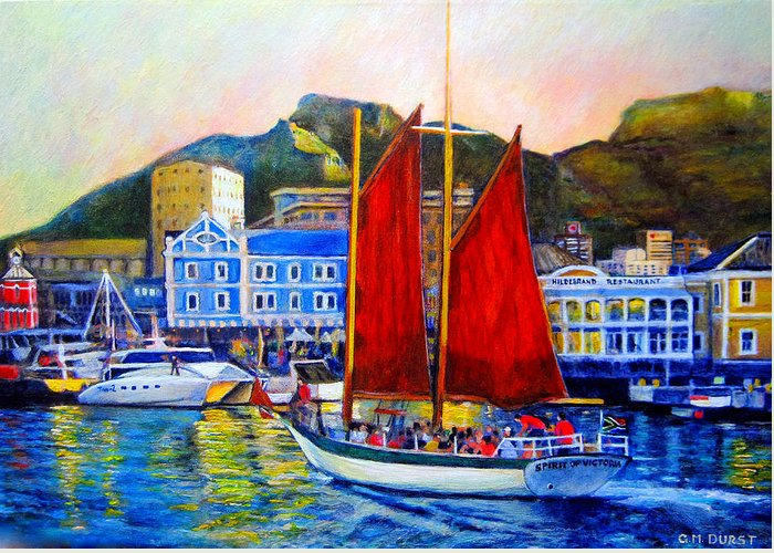 Spirit Of Victoria Greeting Card featuring the painting Spirit's Sunset Sail by Michael Durst