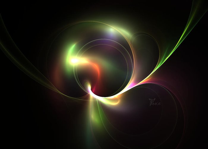 Fractal Greeting Card featuring the digital art Spiritual Energy by Peter Chasse