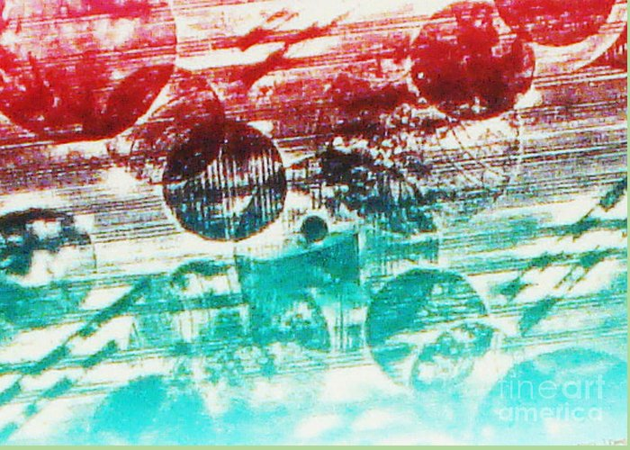 Print Making Abstract Greeting Card featuring the relief Spirtuality Of The Planet by Yael VanGruber