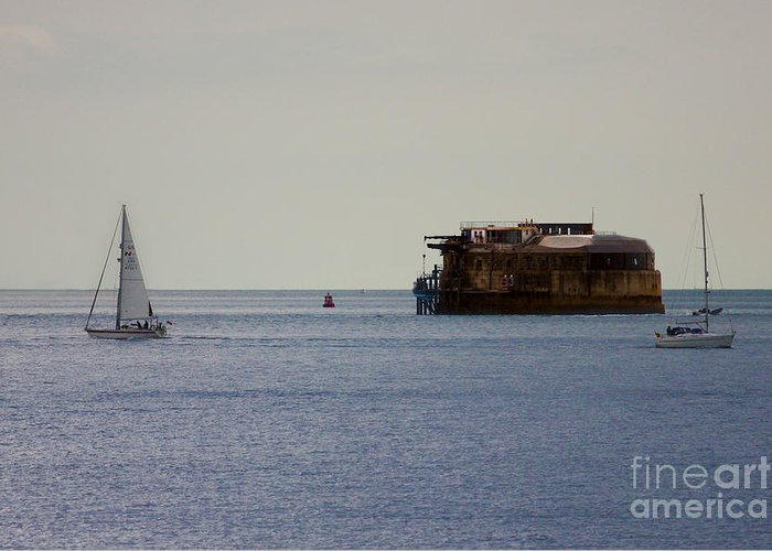 Spitbank Fort Greeting Card featuring the photograph Spitbank Fort Martello Tower by Terri Waters