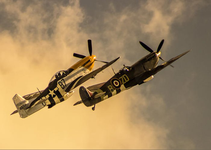 Duxford Greeting Card featuring the photograph Spitfire by Martin Newman