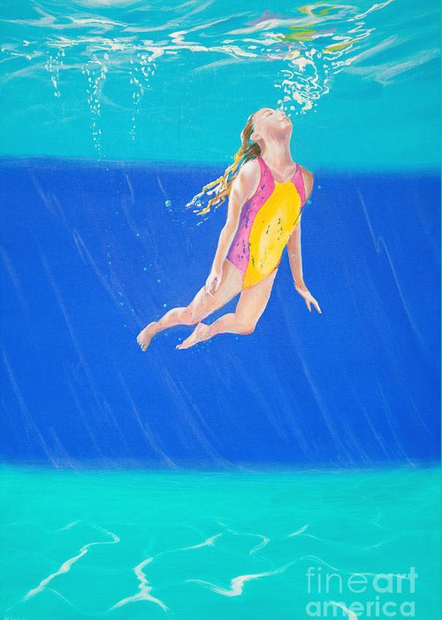 Swimmer Greeting Card featuring the photograph Splash One by Lynne Barletta