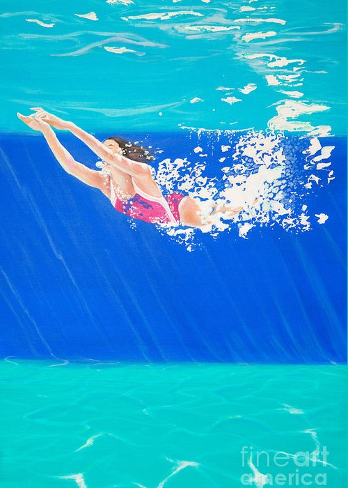 Swimmer Greeting Card featuring the painting Splash Three by Lynne Barletta