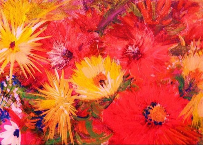 Splashy Greeting Card featuring the painting Splashy Floral II by Anne-Elizabeth Whiteway