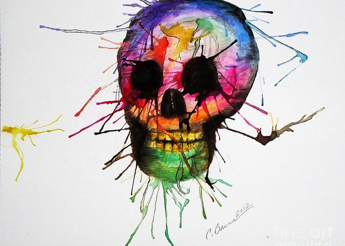 Skull Greeting Card featuring the painting Splatter Skull by Christy Bruna