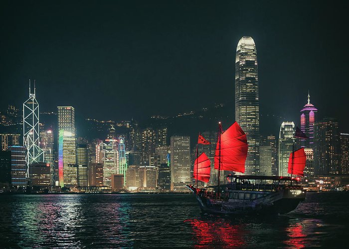 Outdoors Greeting Card featuring the photograph Splendid Asian City, Hong Kong by D3sign