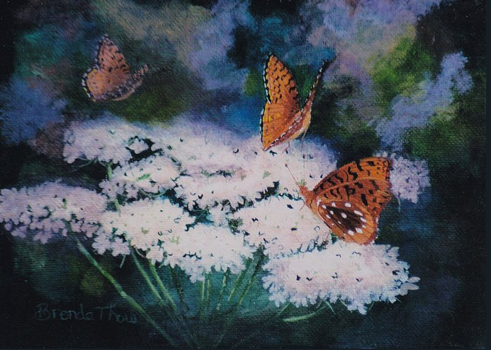 Butterflies Greeting Card featuring the painting Splendor In The Meadow by Brenda Thour