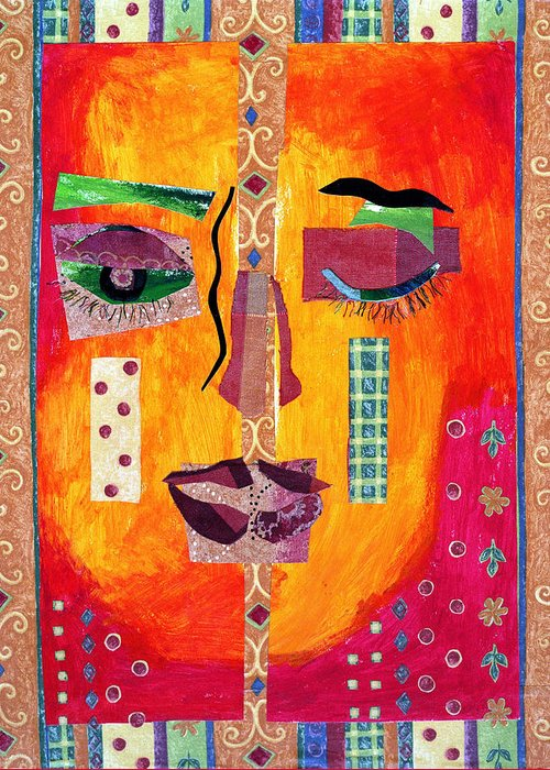 Mixed Media Collage Greeting Card featuring the mixed media Split Personality by Diane Fine
