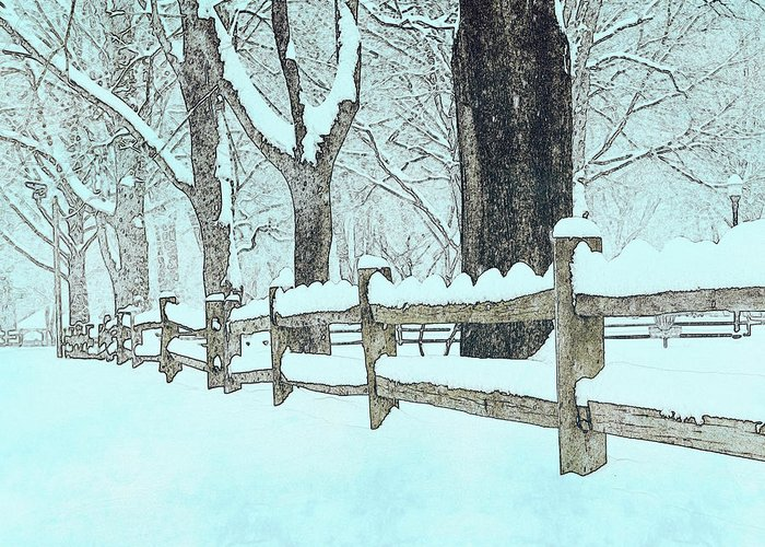 Fence Greeting Card featuring the photograph Split Rail Blues by John Stephens