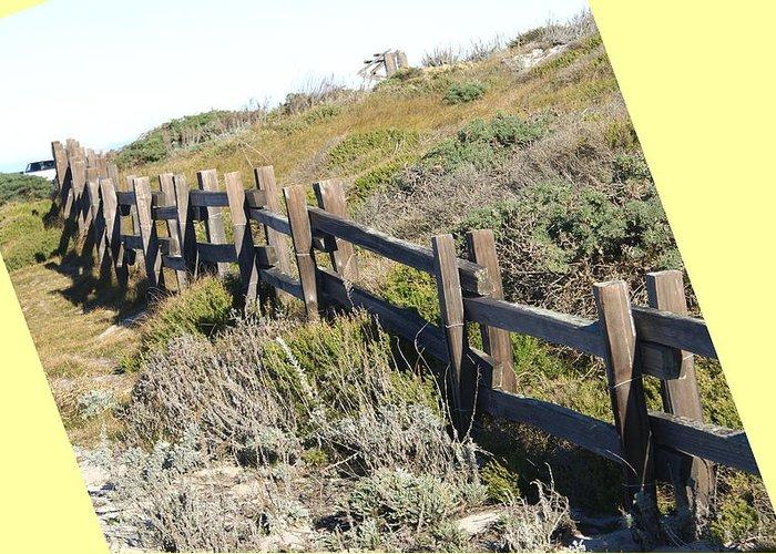 Split Rail Fence Greeting Card featuring the digital art Split Rail Fence Yellow by Barbara Snyder