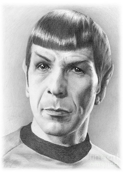 Spock Greeting Card featuring the drawing Spock - Fascinating by Liz Molnar