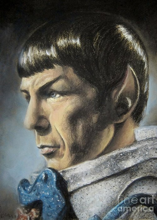 Spock Greeting Card featuring the pastel Spock - The Pain Of Loss by Liz Molnar